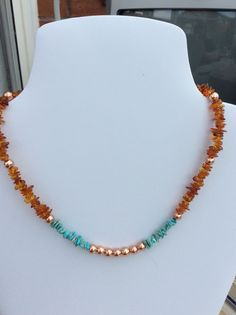 SOLD - Turquoise rough nuggets and Cognac Amber nuggets necklace