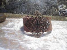 Wide Brown Leather Cuff Bracelet chunky filigree brass pendant snap closure ooak rococo southwest hippie boho sundance style jewelry rustic by LandofBridget