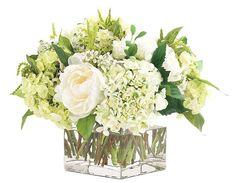 Natural+Decorations,+Inc.+-+PREORDER+MID+JUNE+ +Peony+Hydrangea+Cream+Green+Glass+Cube
