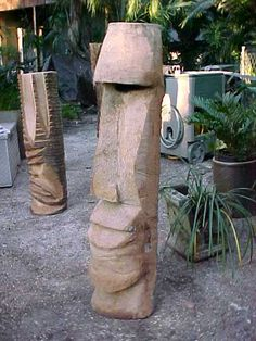 Palm Tree Charlie - hand-carved wooden tikis (I have one in my yard)