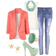 """""""Cute Mint and Coral Outfit"""" by natihasi on Polyvore"""
