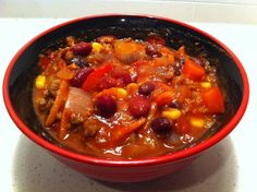 Vegetarian Chilli. Here's another healthy chilli recipe. 3 weight watcher points for 1.5 cups, add some soy crumbles and it's 4 points total. This is by far my favourite chilli recipe and it's vegetarian.