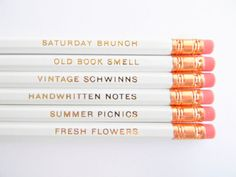 Favorite Things Pencils  White & Gold Set of von AmandaCatherineDes, $12.00