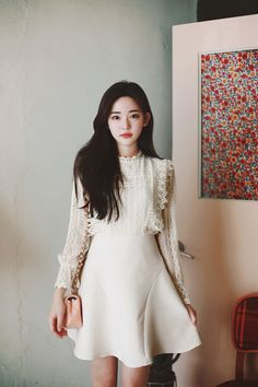 White Dress With Sleeves, Lace Dress, Dresses With Sleeves, White Dresses For Women, Korean Dress, Beautiful Asian Girls, Girl Photography, Korean Fashion, Fashion Outfits