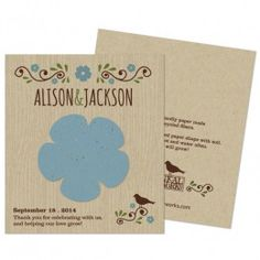 Wildflower Rustic Wedding Favors- plantable thank you cards or favors!