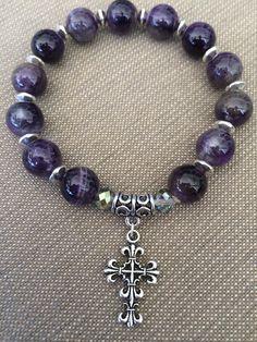 10mm Amethyst bead with cross