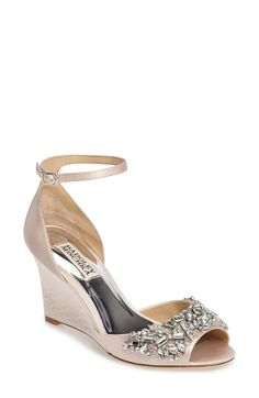 Free shipping and returns on Badgley Mischka Barbara Wedge Sandal (Women) at Nordstrom.com. Dazzling crystal embellishments and an embossed wedge heel help this smooth satin sandal channel showstopping vintage glamour.
