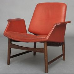 Hans Olsen; Leather and Rosewood Lounge Chair, 1950s.