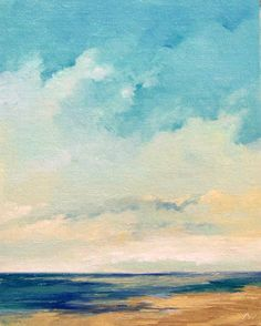 SUMMER BEACH original painting oil painting by PaintingWell, $50.00