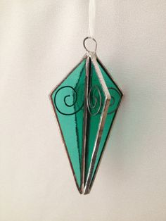 3D Stained Glass Christmas Ornament: Pale Green with Wire Swirls by Mama Agee, $10.00