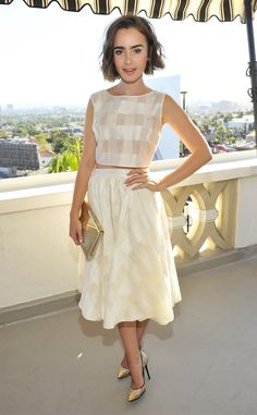 Lily Collins is elegant in a cute ivory-colored crop top with a matching flowy skirt in an pretty sheer plaid by Houghton Spring 2014!