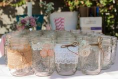 shabby chic pink baby shower flower centerpieces of mason jars