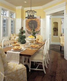 David Weekly Homes Marc-Michaels Interior Design, Inc. Yellow Dining Room, Yellow Kitchen Decor, Dining Room Colors, Dining Room Walls, Dining Room Design, Pale Yellow Kitchens, Living Room, David Weekly Homes, Dining Lighting