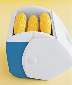 Mini Cooler as a Side Dish Warmer (I have used this for years!!!!!!!!)  Use a small cooler to fake a perfectly timed meal if side dishes (like corn on the cob) are ready before the main course. Simply store the early sides in the insulated case to retain their warmth.