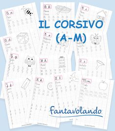 Le schede del corsivo | Fantavolando Bullet Journal, Activities, Education, School, Geography, Alphabet, Educational Illustrations, Learning, Studying