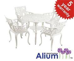 """Alium™ """"Lincoln"""" Cast Aluminium 4 Seater Round Garden Furniture Set in White"""