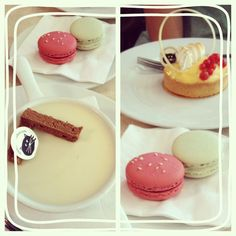 """One happy Sunday, we found a """" """"Little next door"""".  LITTLE NEXT DOOR: Lemon tart, Pot de creme(chocolate pudding and frosted panna cotta), Raspberry & Balsamic vinegar macaroon and Orange blossom macaroon.  Reviews:  Will definitely be back!! 3.5 bites."""