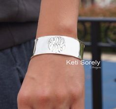 Hand Engraved Monogrammed Cuff Bangle (Order Any Initials) - Sterling Silver