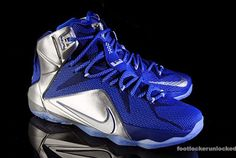"""What if LeBron James had played football instead? The King was a first team All-Star wide receiver for his Ohio school, so Nike has imagined what could have been with the LeBron XII """"What If?"""". The presented Deep Royal Blue, Metallic Silver"""