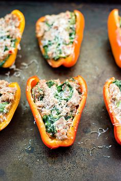 Sausage, Goat Cheese and Arugula Stuffed Peppers