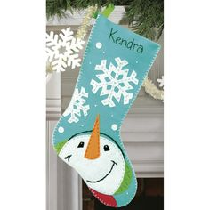 "Catching Snowflakes Stocking Felt Applique Kit-19"" Long"