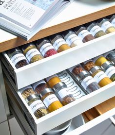 15 Creative Spice Storage Ideas Shallow kitchen drawers are perfect for spice storage – except when jars roll against one another. Solve that problem with the Variera drawer insert from IKEA. The curved grooves of this removable tray make it easy to store Kitchen Ikea, Diy Kitchen Storage, Kitchen Drawers, Cheap Kitchen, New Kitchen, Kitchen Island, Kitchen Pantry, Island Stove, Kitchen Racks