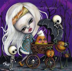 Gothic style ghostly girl, mini skeletons