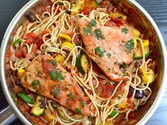 This Mediterranean tuna pasta is full of vegetables, a flavorful red sauce, and tender tuna steaks.