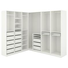 Ikea Pax Corner Wardrobe, Ikea Closet Hack, Wardrobe Room, Ikea Closet System, Ikea Walk In Wardrobe, Corner Closet Shelves, Organizing Walk In Closet, White Wardrobe, Walk In Closet Design