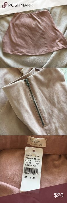 Brandy Melville Pink Suede Skirt Never worn NWT blush pink skirt from Brandy Melville! One Size fits all Brandy Melville Skirts Mini