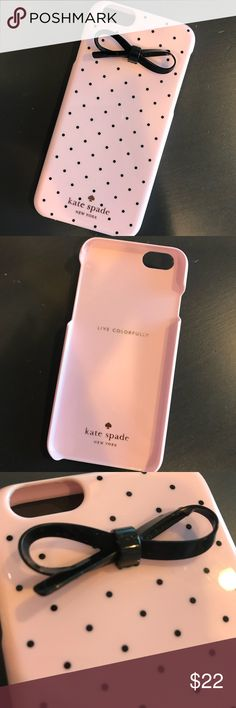 Kate Spade Pink & Black iPhone 6/6S case with Bow Kate Spade plastic iPhone case (fits 6 or 6S). Light pink with black pin dot and 3D black molded plastic bow attached to the back, it actually works well to hold your phone with 😊. Last few photos show or on an iPhone 6S for reference. Gold foil KSNY logo on exterior. Used but excellent/like new condition. kate spade Accessories Phone Cases