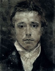 Art - Drawing - Samuel Palmer (1805-1881)  Self­ Portrait (Black chalk, white highlights), 1825
