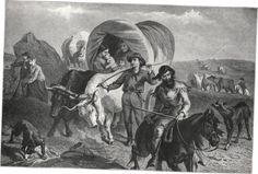 Emigrants Moving West In Covered Wagons, Often Called Prairie Schooners.