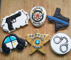 Police and sheriff themed cookies. Man Cookies, Cute Cookies, Cupcake Cookies, Sugar Cookies, Cupcakes, Police Retirement Party, Police Party, Retirement Countdown, Retirement Funny