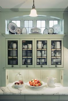 A Classic Kitchen for an Edwardian Renovation -- light grey cabinets, marble counters -- Old-House Online