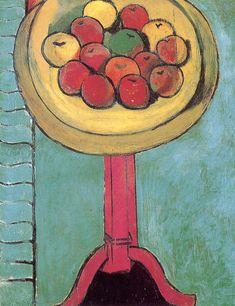 Henri Matisse. Apples on a Table, Green Background. The Chrysler Museum, Norfolk114,9 x 89,5 cm.1916