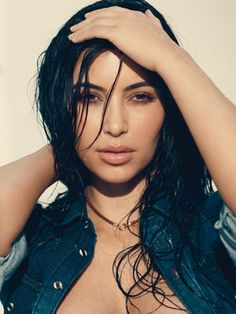 Kim Kardashian looking sexy in Allure magazine wearing the Blake shirt by DL1961 Premium Denim.