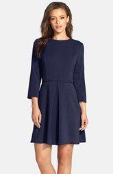 Eliza J Pleated Crepe Fit & Flare Dress (Regular & Petite)