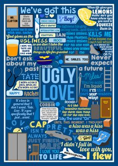 FINALLY finished my book collage based on Ugly Love by Colleen Hoover! Other Colleen Hoover collages: Slammed Point of Retreat Hopeless Finding Cinderella Maybe Someday You can see the collection of all my book collages HERE Colleen Hoover Quotes, Ugly Love Colleen Hoover, Hopeless Colleen Hoover, Hush Hush, The Book Of Ivy, These Broken Stars, Good Books, My Books, It Ends With Us