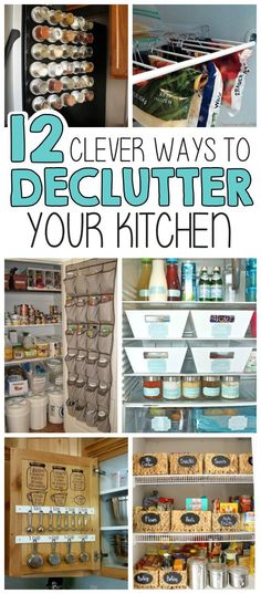 12 Clever Ways To Declutter Your Kitchen if Getting Organized At Home Is Your Goal! Kitchen Organization, Organization Hacks, Kitchen Storage, Kitchen Pantry, Pantry Cabinets, Organized Kitchen, Recipe Organization, Getting Organized At Home, Declutter Your Life