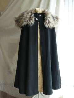 Medieval cloak made with wool and fur for man or woman on Etsy, $252.42
