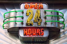 Open 24 Hours old neon deco style sign Old Neon Signs, Vintage Neon Signs, Old Signs, Retro Vintage, American Diner, Advertising Signs, Light Painting, Neon Lighting, Painted Signs