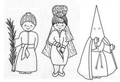 Dibujos de Semana Santa para colorear http://aprendiendoconjulia.com/2015/03/fichas-para-colorear-de-semana-santa-viacrucis-nazarenos-palmas/