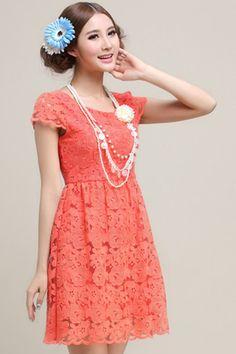 ROMWE | Cut-out Lace Red Dress, The Latest Street Fashion #ROMWEROCOCO