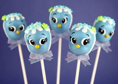Bluebird Cake Pops by Bakerella - Such a simple design but they look adorable