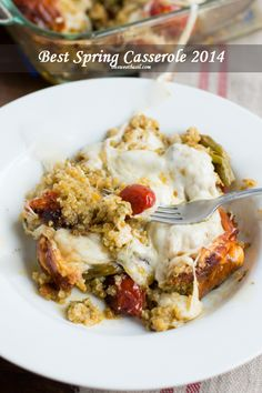 Roasted tomatoes, asparagus and pesto quinoa all in one awesome casserole. Booyah. ohsweetbasil.com