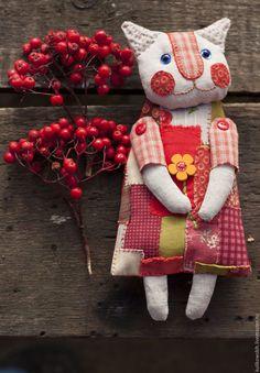 Купить Кукла текстильная Кошечка Груня - разноцветный, кошка, кошечка, коты и кошки