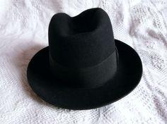 Antique black French borsalino hat felt hat by MyFrenchAntiqueShop  Borsalino Hats c0785b21f6c6