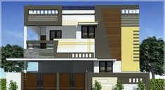 elevations of independent houses Single Floor House Design, House Front Design, Cool House Designs, Building Elevation, House Elevation, Compound Wall Design, Front Elevation Designs, Independent House, Duplex House Plans