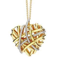 Al Coro 18ct Yellow gold Open cage heart pendant and chain